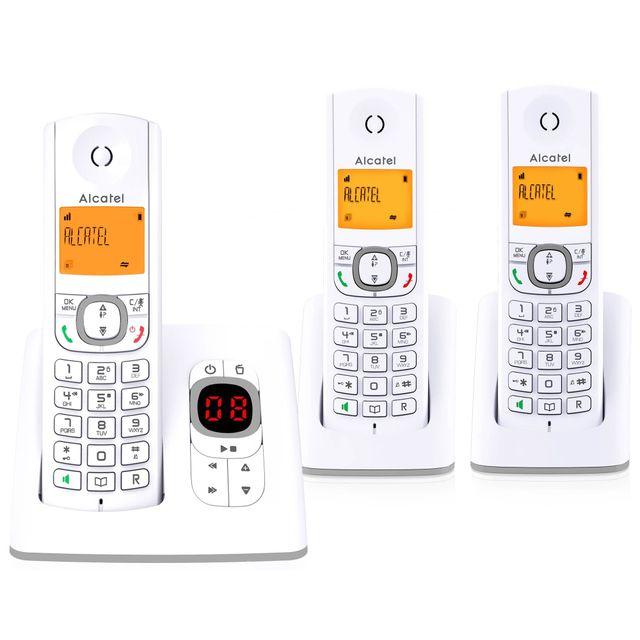ALCATEL - téléphone sans fil trio dect avec répondeur gris blanc - f530  voice trio 8d90b9090a3d