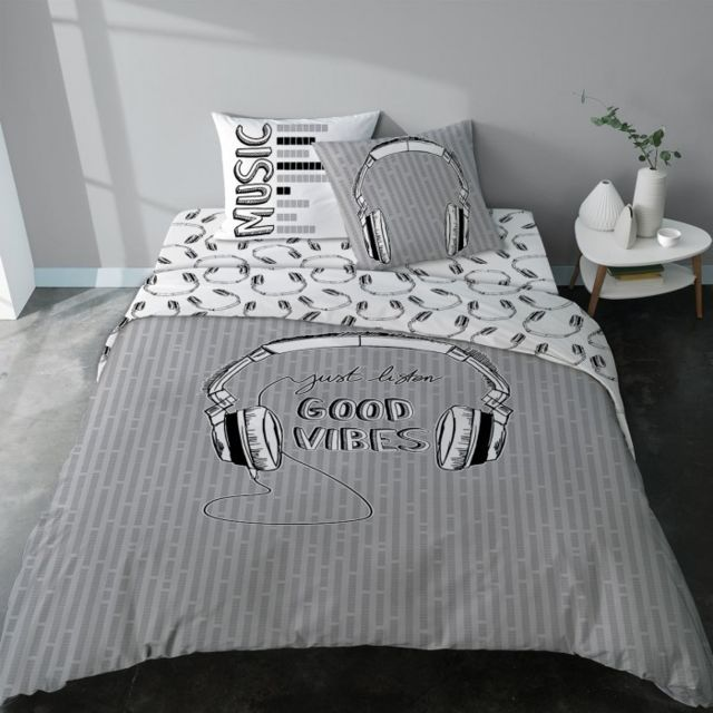 selene et gaia drap housse coton rock ado noir et blanc good vibes couleur imprim taille. Black Bedroom Furniture Sets. Home Design Ideas