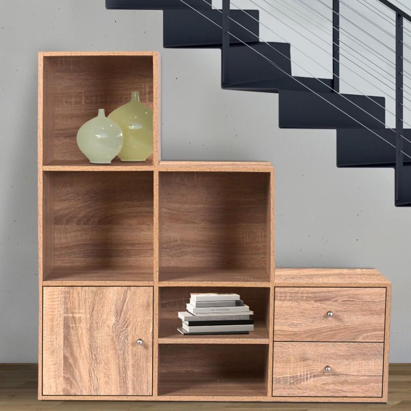 Meuble de rangement escalier 3 niveaux bois façon hêtre avec porte et tiroirs