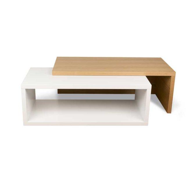 Tousmesmeubles Table basse extensible Blanc/Chêne clair - Maseya