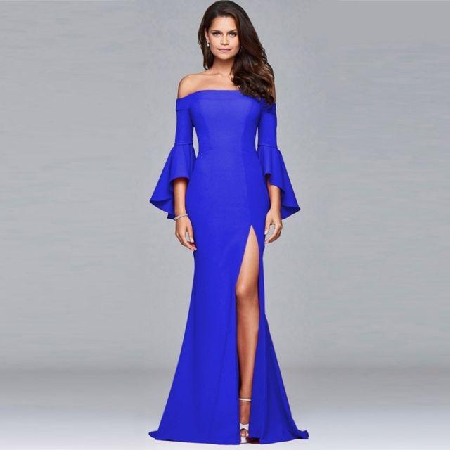 e136586d16bf Wewoo - Robe Femme bleu Femmes Mode Sexy Élégant Une Épaule Furcal Haut de  gamme Soirée