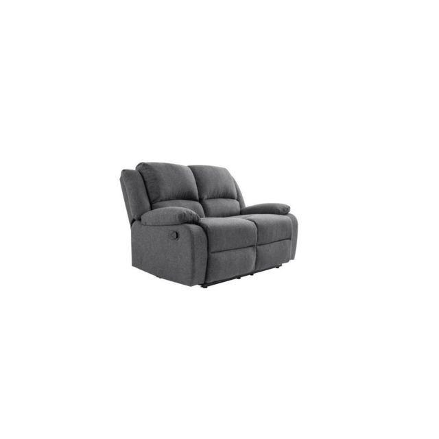 Sans Marque Relax Canape De Relaxation 2 Places - Tissu Gris Fonce - L144 X P93 Cm