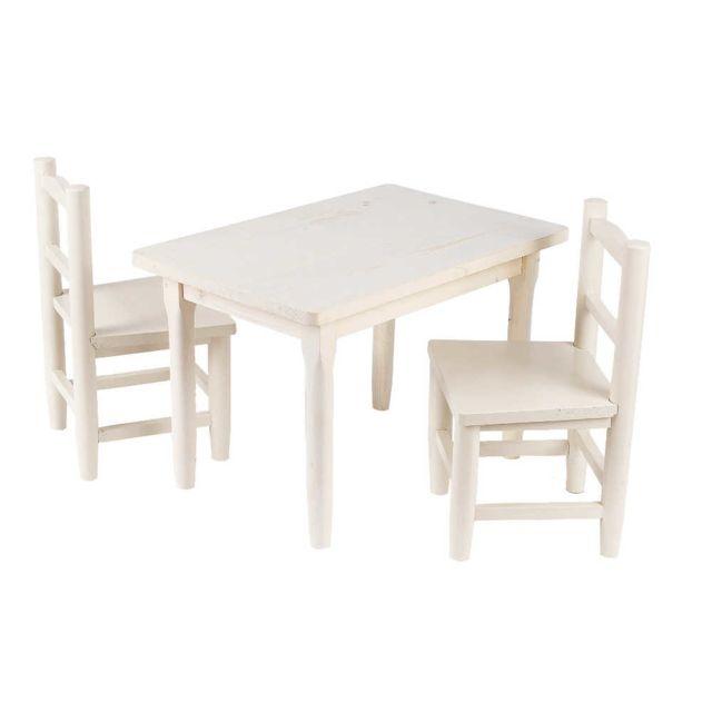 Salon en 2 table chaises 1 enfant pin blanchi jc54RALq3