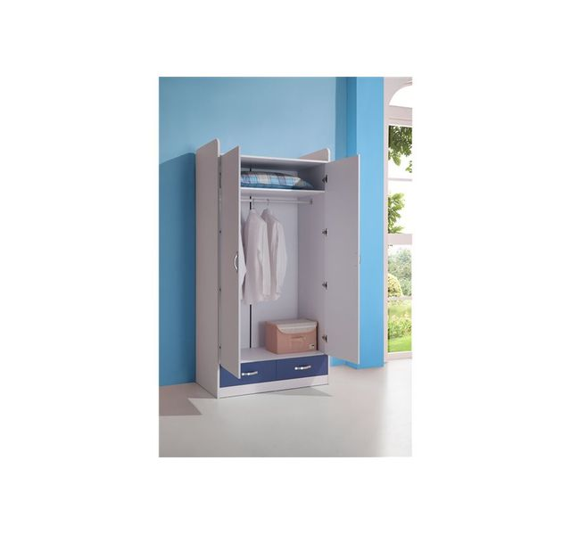 Chloe Decoration - Armoire chambre enfant Boby - bleu et blanc - 100 ...