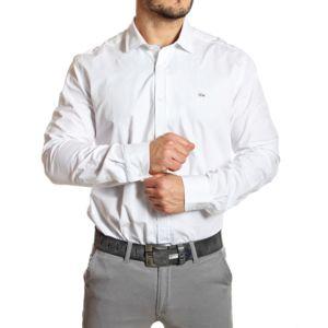lacoste chemise homme slim fit blanche col italien pas. Black Bedroom Furniture Sets. Home Design Ideas