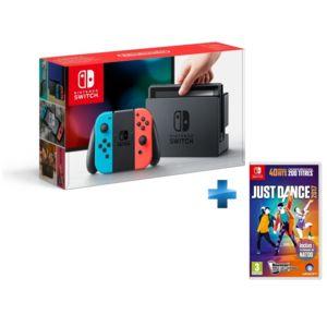 NINTENDO - Console Switch avec un Joy-Con rouge néon et un Joy-Con bleu néon + JUST DANCE 2017 - SWITCH