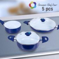 Appetitissime - Batterie de Cuisine Ceramic Chef Pan 5 pièces, Couleur Blue marine