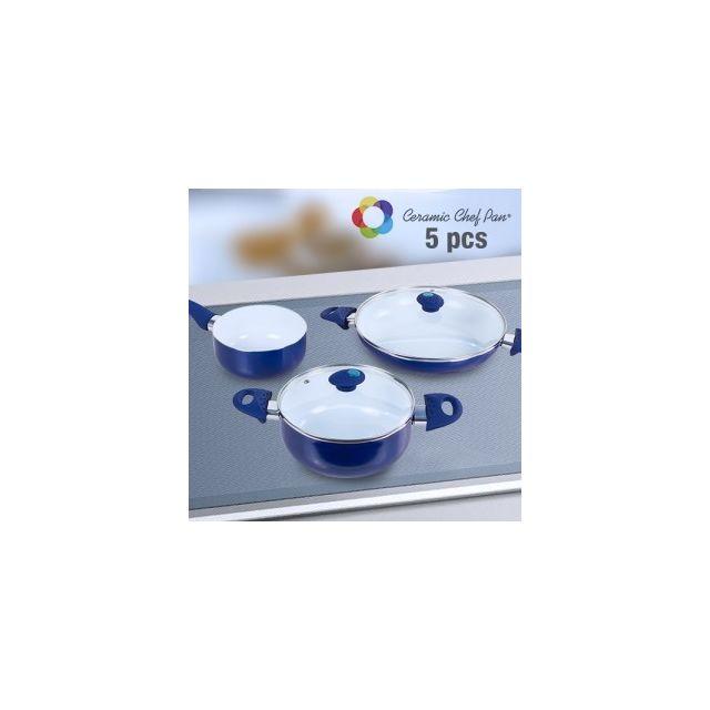Appetitissime Batterie de Cuisine Ceramic Chef Pan 5 pièces, Couleur Rouge