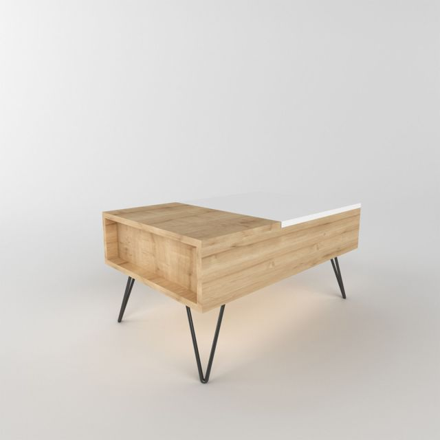 Homemania Table basse design relevable Mixa - L. 80 x H. 38,6 cm - Marron somona