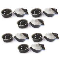 Arc - Lot de 12 mini cocottes rondes 10X3,5 noires - 6503123