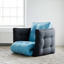 karup   chauffeuse bicolore convertible matelas futon dice futon chair   bleu horizon gris anthracite futon de voyage   achat futon de voyage pas cher   rue du  merce  rh   ruedu merce fr