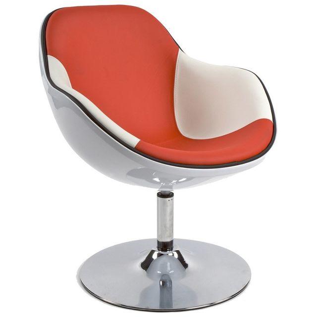 Alterego Fauteuil design 'KOK' pivotant blanc et rouge style retro