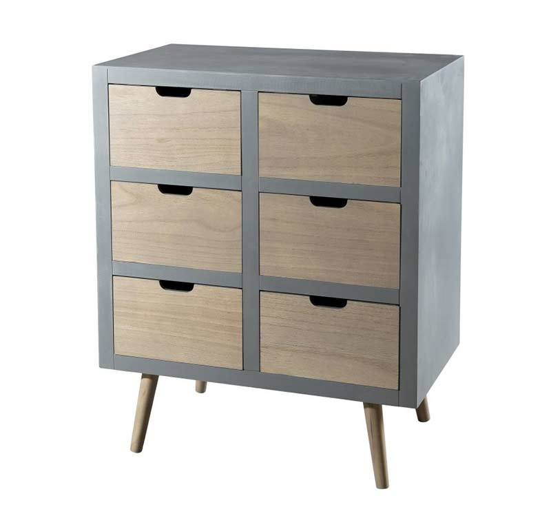 Commode 6 tiroirs scandinave bois de pin Macabane