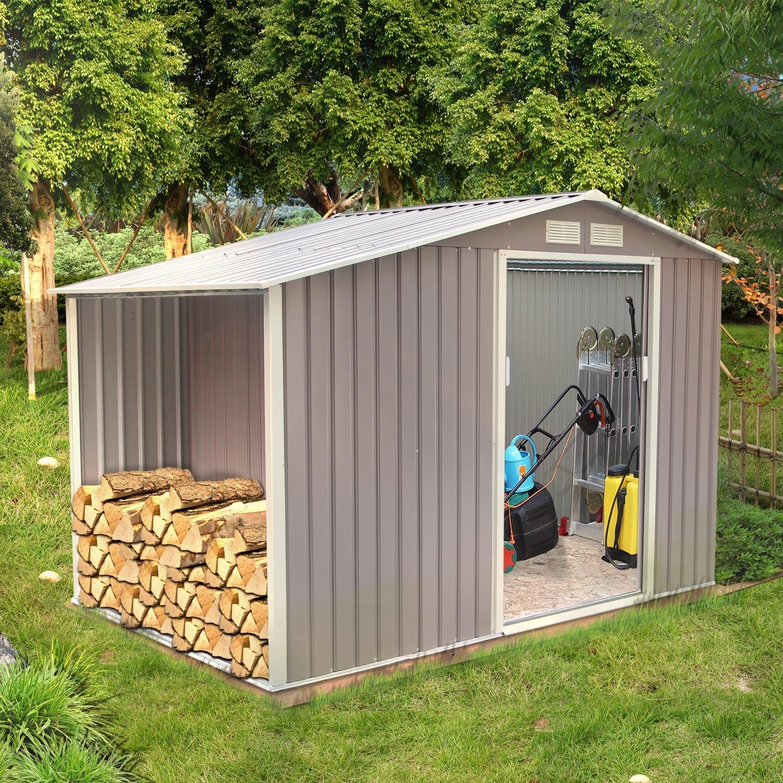 Ventoux 5.31 m² : abri de jardin avec abri bûches en metal anti-corrosion gris
