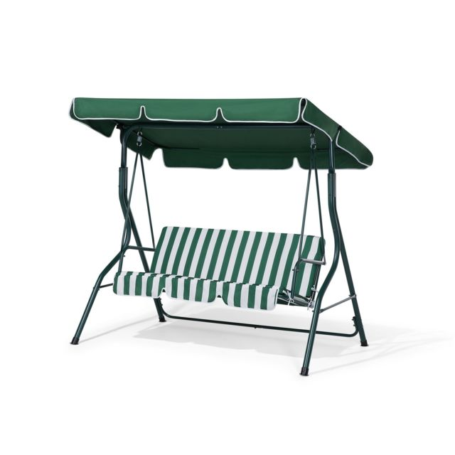 BELIANI Balancelle de jardin en métal et tissu vert et blanc CHAPLIN - vert et blanc