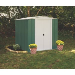 chalet jardin chalet jardin abri de jardin 2 5 m2 en m tal vert blanc pas cher achat. Black Bedroom Furniture Sets. Home Design Ideas