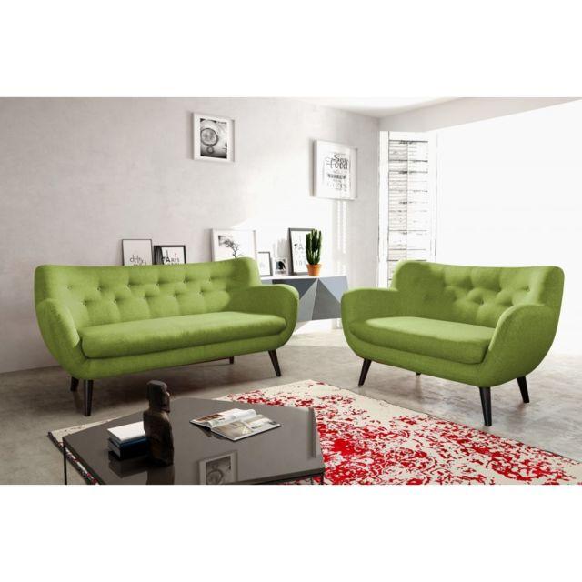 Rocambolesk Canapé Adele 2 sawana 08 vert avec pieds noir sofa divan