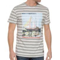 Mzgz - Tee Shirt Blanc Et Gris Marinière