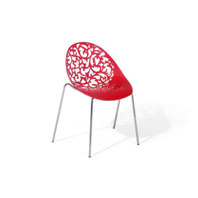 Beliani Chaise De Salle A Manger Rouge Design En Plastique
