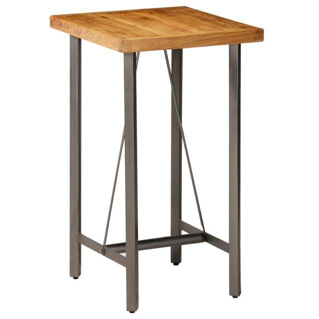 Admirable Tables ligne Nairobi Table de bar Teck recyclé massif 60 x 60 x 107 cm