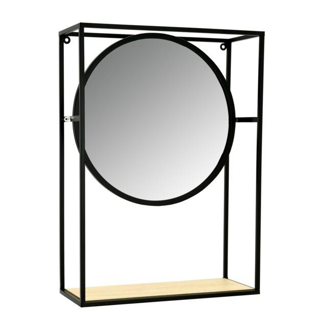 AUBRY GASPARD Miroir étagère en métal, verre et bois