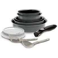 Battrinox - Ideo Set de poêles et casseroles avec poignée amovible Set 10 Pièces Gris Tous feux dont induction