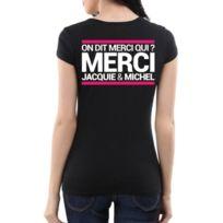 Jacquie Et Michel - T-shirt Femme Jacquie & Michel Noir Blanc et Rose