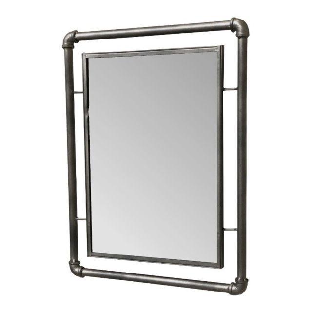 Chemin de campagne miroir industriel tube tuyau en fer m tal mural 53 cm x 41 cm pas cher for Miroir mural industriel