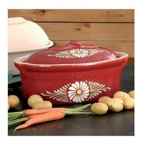 BECK - terrine ovale baeckoffe 34cm rouge décor marguerite - 8834
