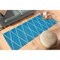 Kaligrafik - Tapis plastique tissé main rendu coton motif losange Flatad - Bleu - 60x110cm