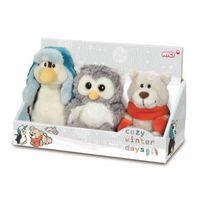 Nici - Neotilus Set 3 Peluches : Pingouin. Ours et Hibou 15cm