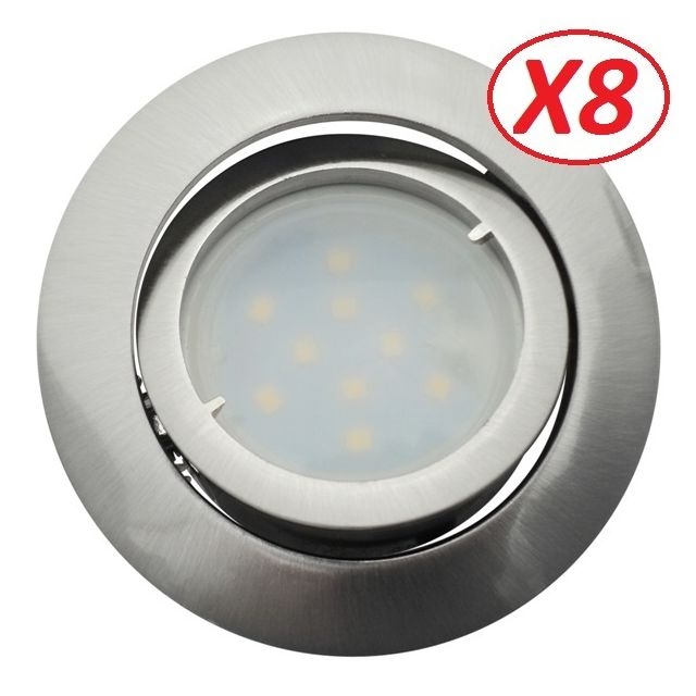 Eurobryte Lot de 8 Spot Led Encastrable Complete Satin Orientable lumière Blanc Neutre eq. 50W ref.895