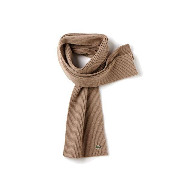 2b541c51767c Lacoste - Echarpe foulard taupe en laine vierge 100% Re4212 - pas cher Achat    Vente Echarpes - RueDuCommerce