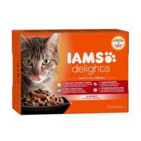 Iams Chat - Iams Delights multibox Saveurs Terre et Mer en sauce Land & sea Collection Toutes Races - 12x85 g - Pour chat adulte
