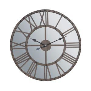 jardin d 39 ulysse horloge murale en m tal et miroir chiffres romains noir noho pas cher achat. Black Bedroom Furniture Sets. Home Design Ideas
