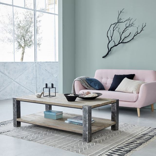 Bois Dessus Bois Dessous Table basse en pin recyclé et métal - 140 x 80 cm - Double plateau - Vintage