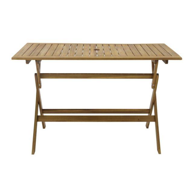 Dlm - Table de jardin rectangulaire 120x70cm Pliante en acacia Laemi ...