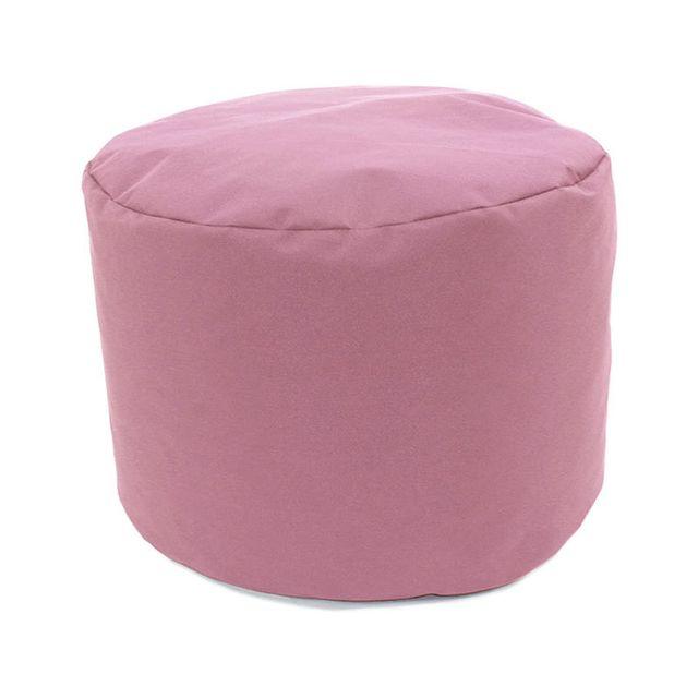 Mon Beau Tapis - Pouf rond rose poudré intérieur extérieur 30x25cm ...