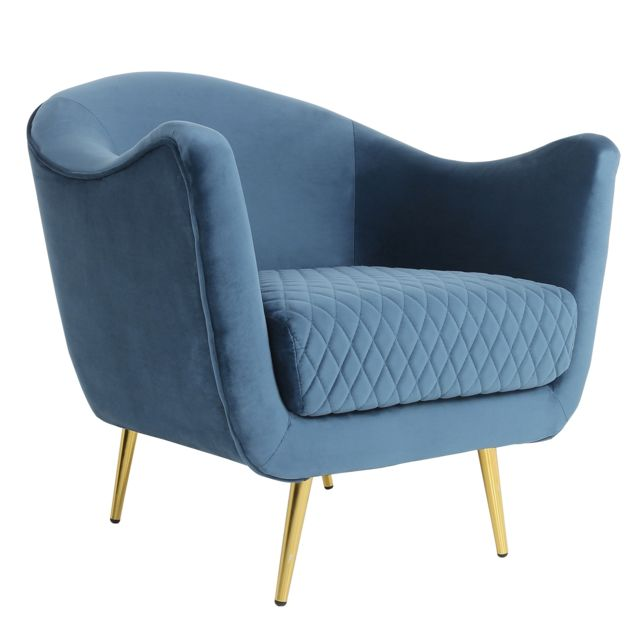 MENZZO Fauteuil Dalida Velours Bleu Pied Or