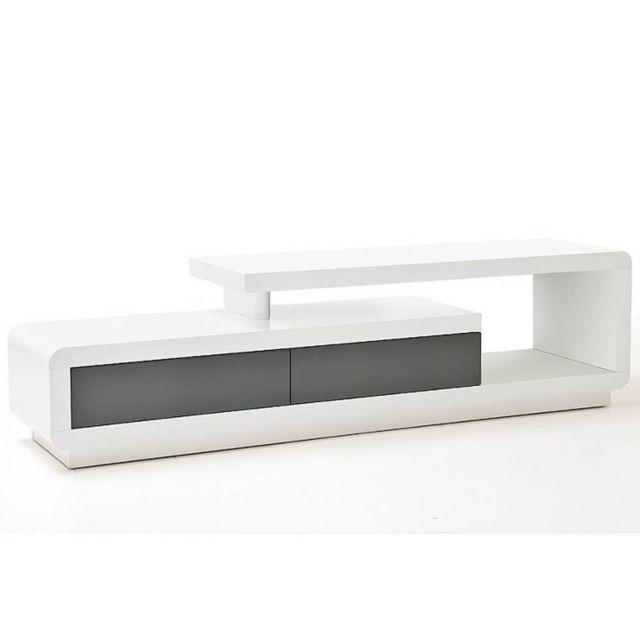 Inside 75 Meuble Tv design Corto 2 tiroirs laqué blanc mat et gris