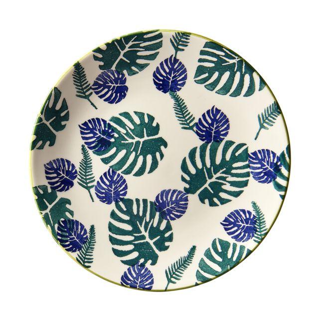 """RUE DU COMMERCE - Assiette plate gamme """"Feuillage Vert, bleu et blanc"""