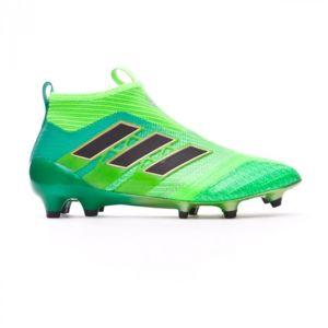 Adidas - Chaussure de football Jr Ace 17+ Purecontrol Fg Solar green-Core  black