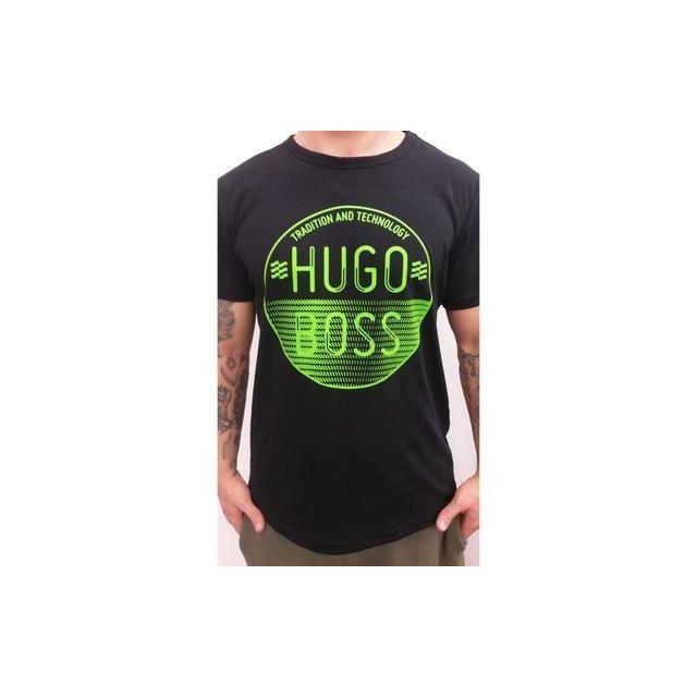 4e4aeacf750 Hugo Boss - T-shirt 50323992 001 Noir logo vert - pas cher Achat   Vente  Tee shirt homme - RueDuCommerce