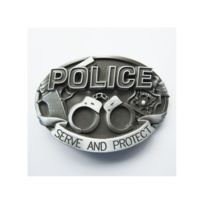 78e73ab05f82 Universel - Boucle de ceinture police menote pistolet serve protect alu