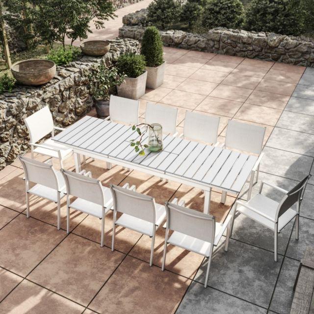 Avril Paris - Table de jardin extensible aluminium 180/240cm blanc ...