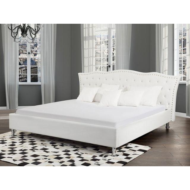 Beliani Lit design en cuir - lit double 160x200 cm - blanc - sommier avec rangement inclus - Metz