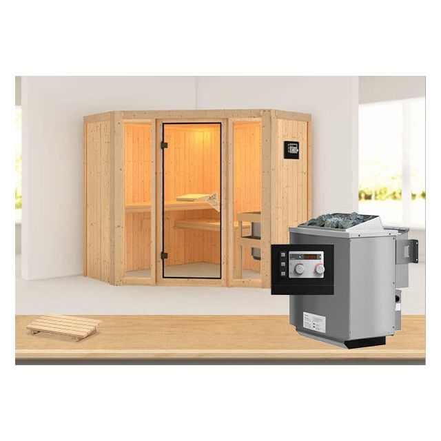 karibu sauna vapeur flora 1 avec po le bio 9kw commande externe pas cher achat vente. Black Bedroom Furniture Sets. Home Design Ideas