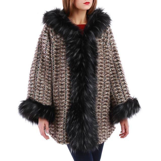 La Modeuse - Manteau taupe en laine molletonnée et finitions fourrures 4d49889623b6