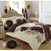 Just Contempo - Parure De Lit En Coton MÉLANGÉ Motif Floral RÉVERSIBLE, MÉLANGE De Coton, Cream & Brown Chocolate Natural, Houss