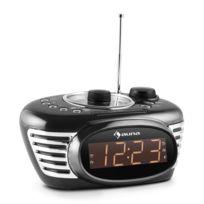 Auna - Rcr 56 Bk radio réveil rétro horloge radio Fm Aux double alarme -noir